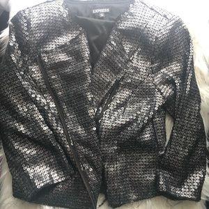 Express sequin cropped blazer